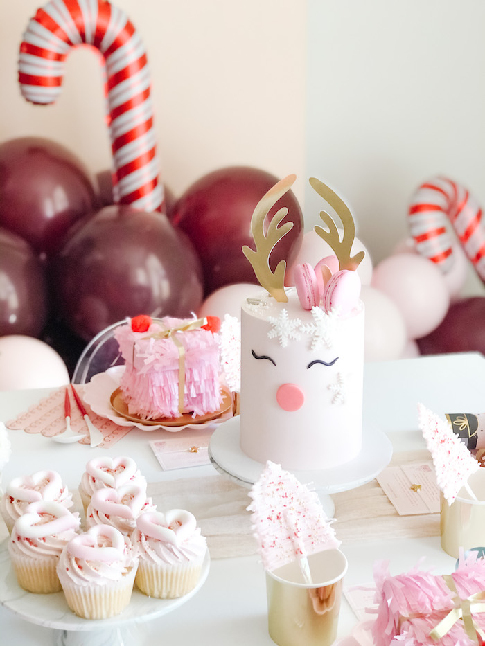Girly Holiday Sweet Table from a Pink Peppermint Christmas Party on Kara's Party Ideas | KarasPartyIdeas.com (14)