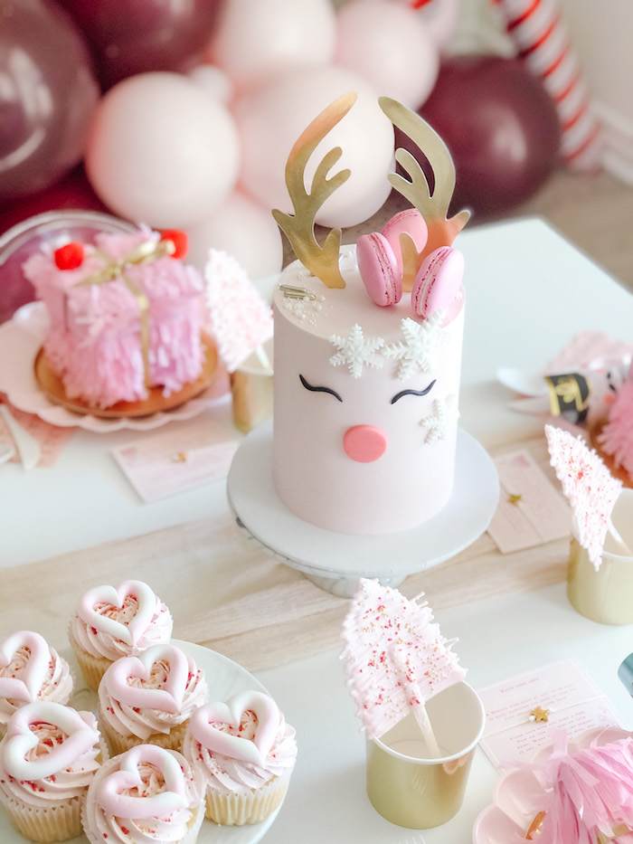 Girly Reindeer Cake from a Pink Peppermint Christmas Party on Kara's Party Ideas | KarasPartyIdeas.com (13)
