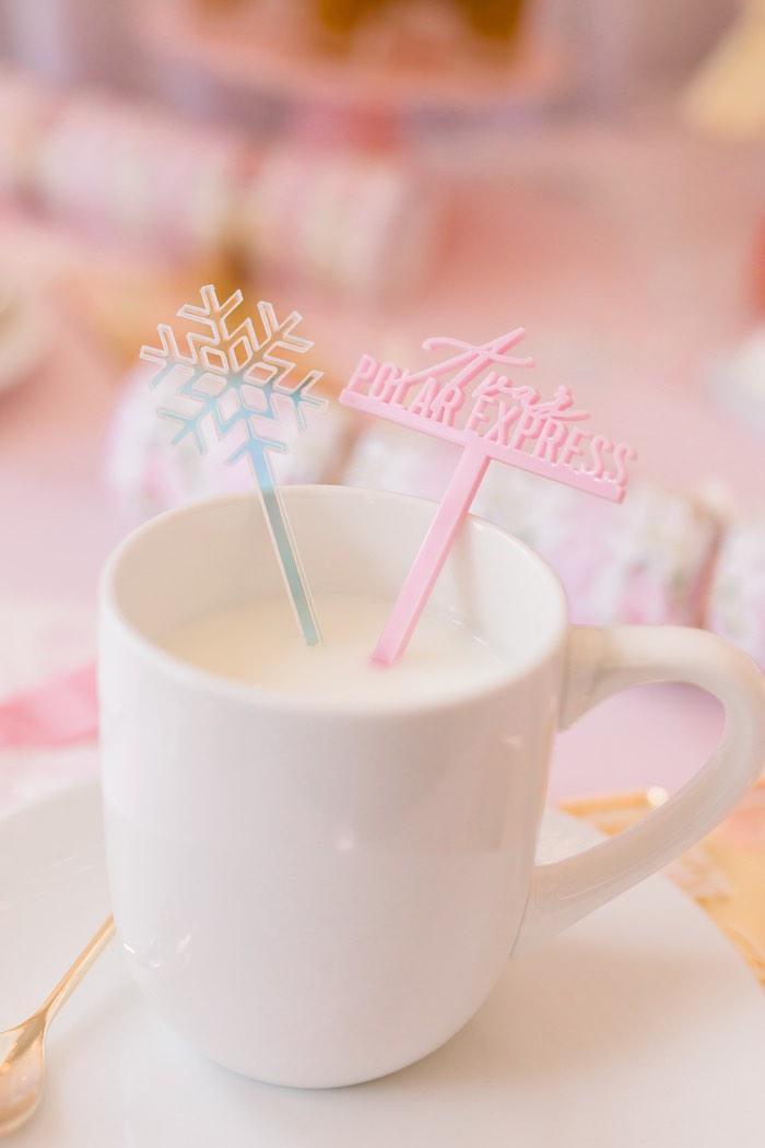 Snowflake + Polar Express Stir Sticks from a Pink Polar Express Party on Kara's Party Ideas | KarasPartyIdeas.com (44)