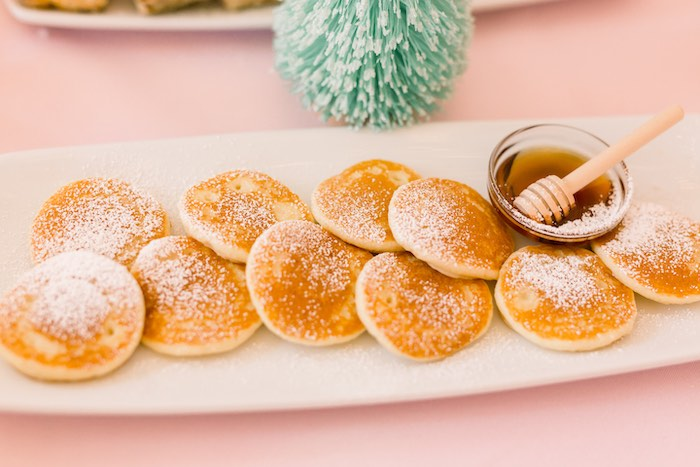 Mini Pancakes with Syrup Bowl from a Pink Polar Express Party on Kara's Party Ideas | KarasPartyIdeas.com (42)