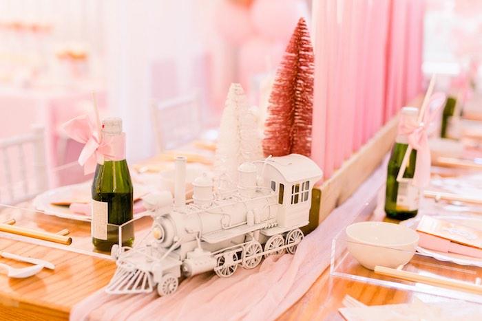 Train Decoration from a Pink Polar Express Party on Kara's Party Ideas | KarasPartyIdeas.com (39)