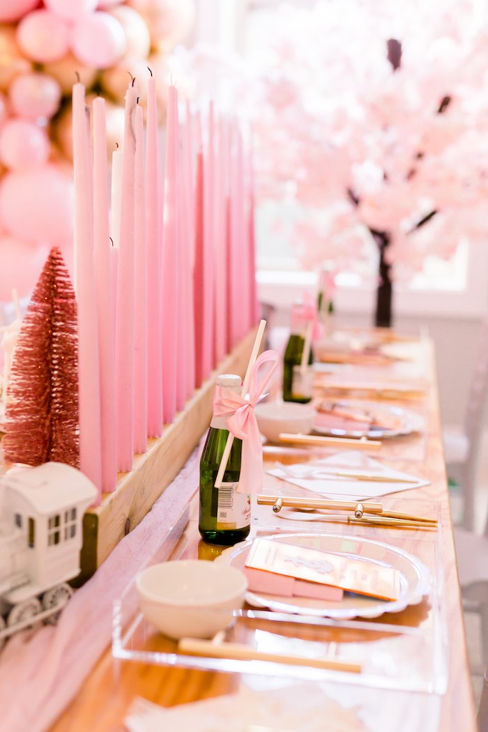 Pink Polar Express-inspired Party Table from a Pink Polar Express Party on Kara's Party Ideas | KarasPartyIdeas.com (38)
