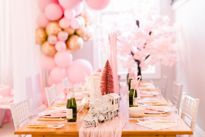 Pink Polar Express-inspired Party Table from a Pink Polar Express Party on Kara's Party Ideas | KarasPartyIdeas.com (37)