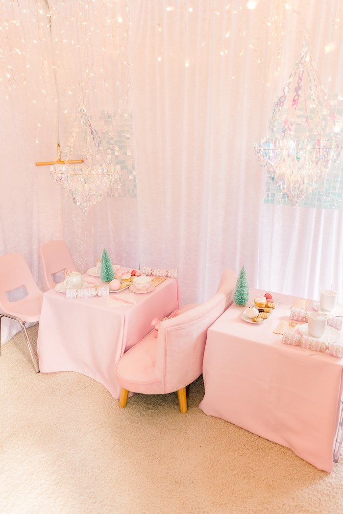 Pink Guest Tables from a Pink Polar Express Party on Kara's Party Ideas | KarasPartyIdeas.com (32)