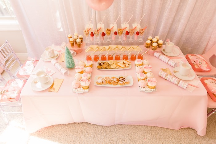 Breakfast Bar + Sweet Table from a Pink Polar Express Party on Kara's Party Ideas | KarasPartyIdeas.com (31)