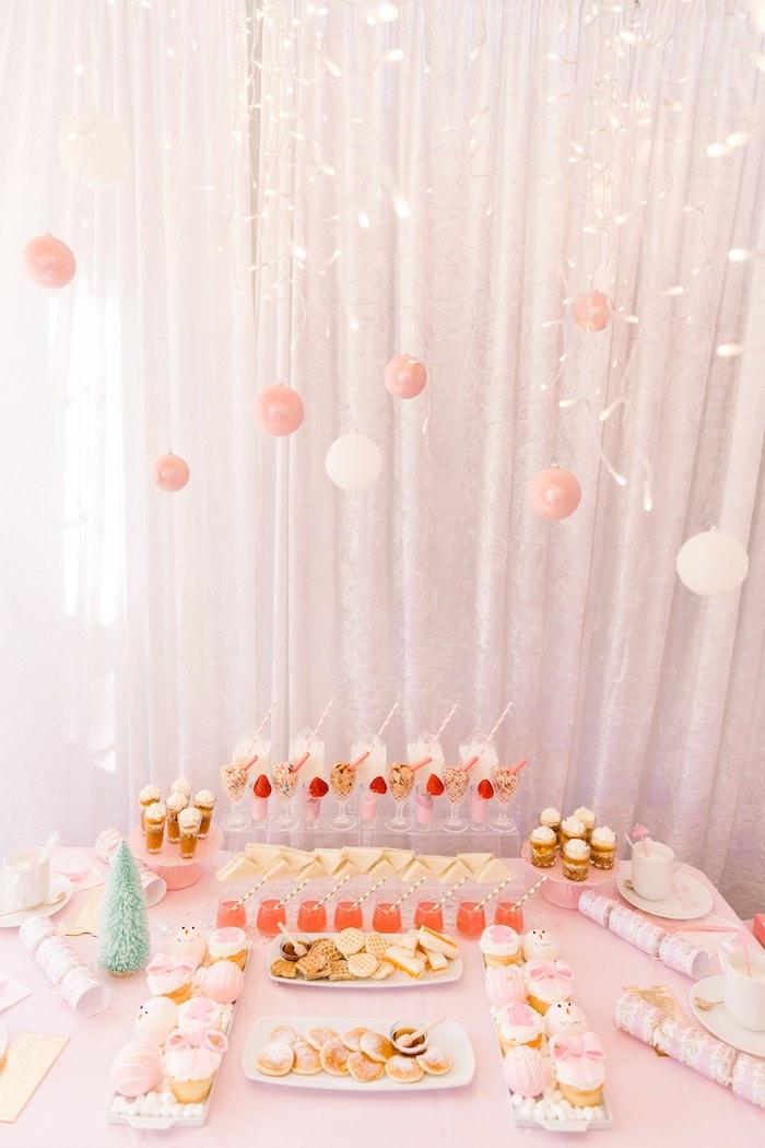 Breakfast Bar + Sweet Table from a Pink Polar Express Party on Kara's Party Ideas | KarasPartyIdeas.com (30)