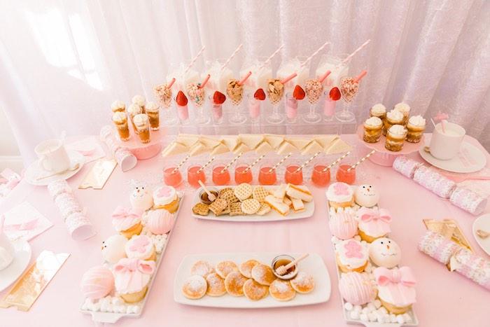 Breakfast Bar + Sweet Table from a Pink Polar Express Party on Kara's Party Ideas | KarasPartyIdeas.com (22)