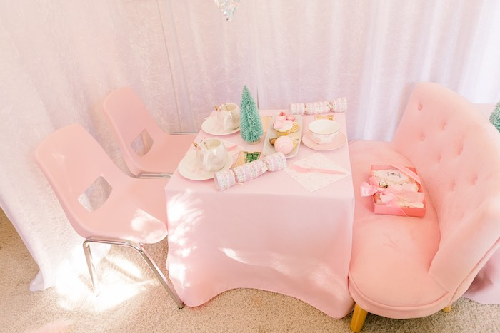 Pink Hot Cocoa-inspired Guest Table from a Pink Polar Express Party on Kara's Party Ideas | KarasPartyIdeas.com (21)
