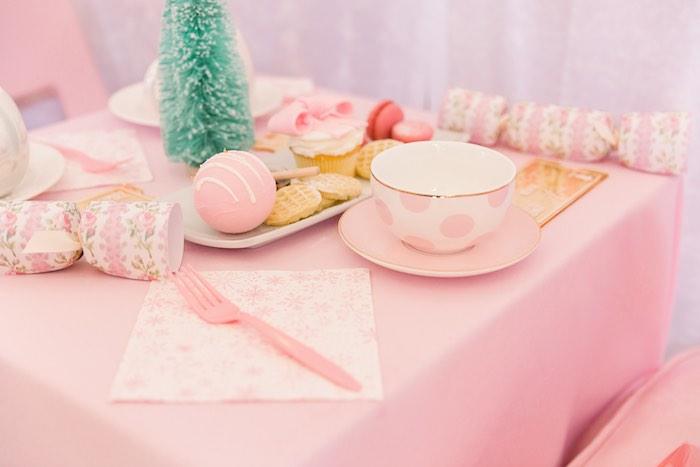 Hot Cocoa Table Setting from a Pink Polar Express Party on Kara's Party Ideas | KarasPartyIdeas.com (20)