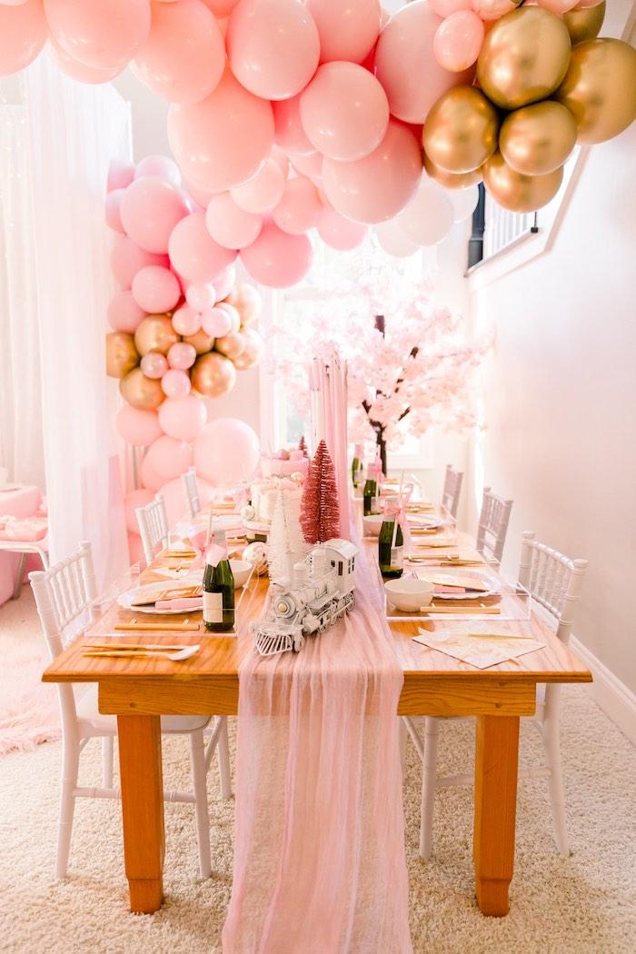 Polar Express Guest Table from a Pink Polar Express Party on Kara's Party Ideas | KarasPartyIdeas.com (18)