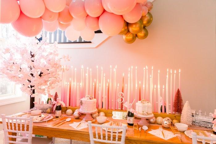 Polar Express Party Table from a Pink Polar Express Party on Kara's Party Ideas | KarasPartyIdeas.com (16)
