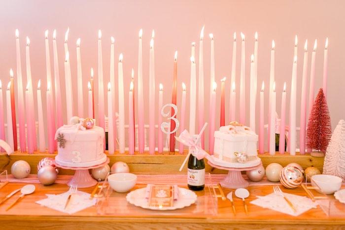 Polar Express Themed Cake + Guest Table from a Pink Polar Express Party on Kara's Party Ideas | KarasPartyIdeas.com (15)