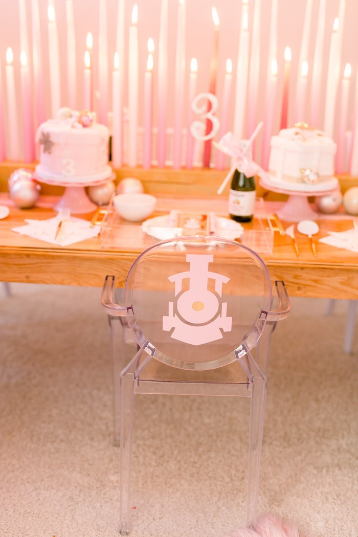 Pink Train Decal on a Ghost Chair from a Pink Polar Express Party on Kara's Party Ideas | KarasPartyIdeas.com (14)