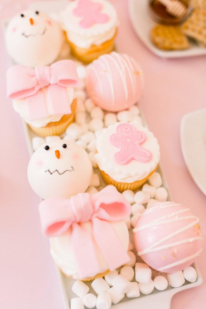 Hot Cocoa Bombs + Cupcakes from a Pink Polar Express Party on Kara's Party Ideas | KarasPartyIdeas.com (48)