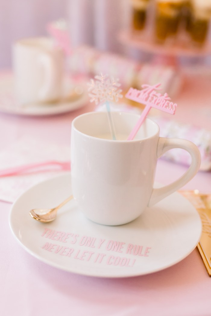 Hot Cocoa Cup Table Setting from a Pink Polar Express Party on Kara's Party Ideas | KarasPartyIdeas.com (45)
