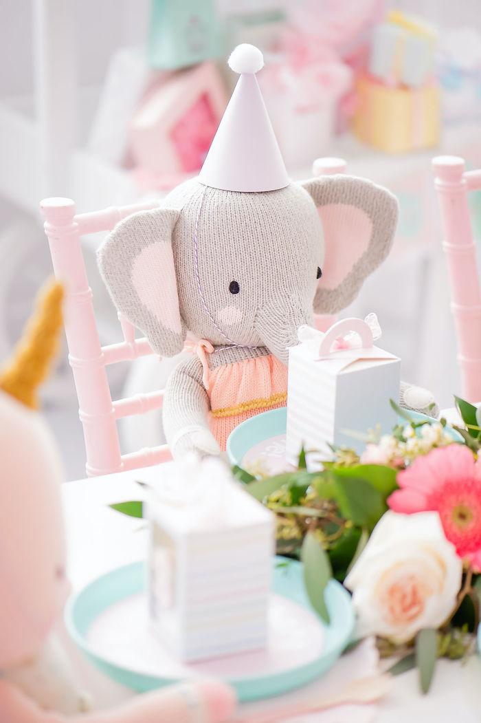 Elephant Stuffed Animal from a Stuffed Animal Picnic Party on Kara's Party Ideas | KarasPartyIdeas.com (23)