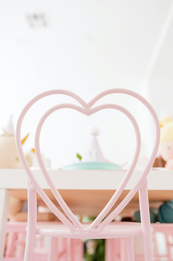 Heart Chair Table Setting from a Stuffed Animal Picnic Party on Kara's Party Ideas | KarasPartyIdeas.com (21)