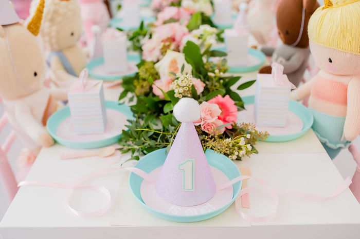 Pom Party Hat Table Setting from a Stuffed Animal Picnic Party on Kara's Party Ideas | KarasPartyIdeas.com (18)