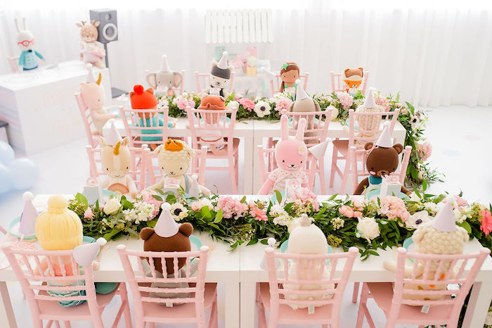 Guest Tables from a Stuffed Animal Picnic Party on Kara's Party Ideas | KarasPartyIdeas.com (15)