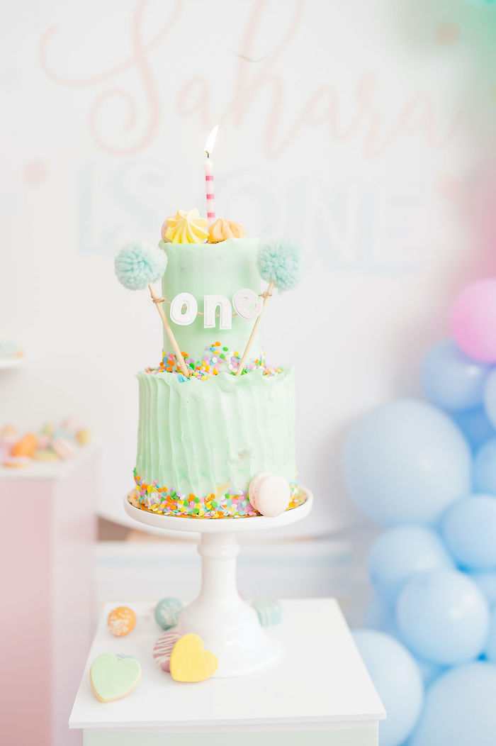 Pom-inspired Cake from a Stuffed Animal Picnic Party on Kara's Party Ideas | KarasPartyIdeas.com (8)