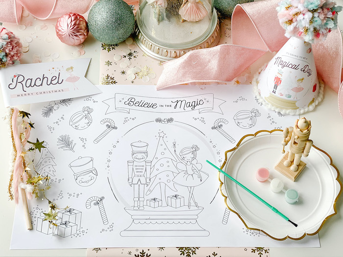 Nutcracker Ballet-inspired Placemat from a Sugar Plum Fairy Birthday Party on Kara's Party Ideas | KarasPartyIdeas.com (15)