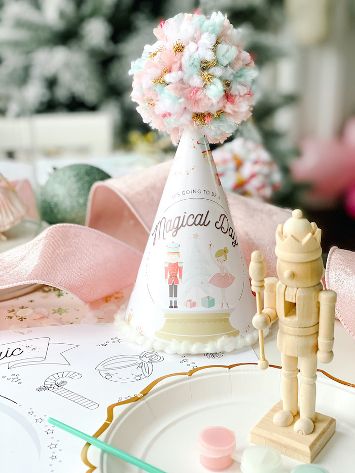 Nutcracker Ballet-inspired Party Hat from a Sugar Plum Fairy Birthday Party on Kara's Party Ideas | KarasPartyIdeas.com (14)