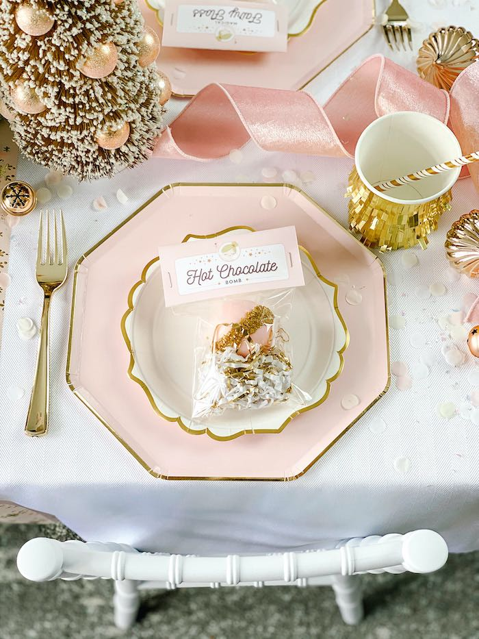 Pink + Gold Table Setting from a Sugar Plum Fairy Birthday Party on Kara's Party Ideas | KarasPartyIdeas.com (23)