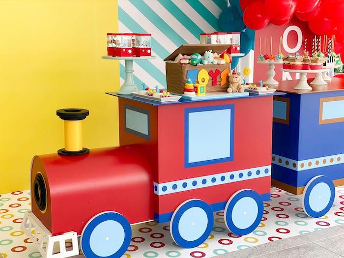 Train Dessert Table from a Toy Shop Birthday Party on Kara's Party Ideas   KarasPartyIdeas.com (11)