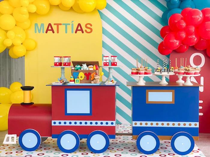 Train Dessert Table from a Toy Shop Birthday Party on Kara's Party Ideas   KarasPartyIdeas.com (4)
