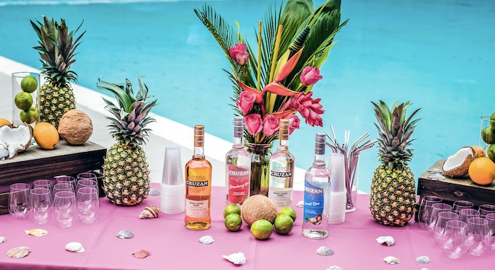 Tropical Adult Beverage Bar from a Trolls World Tour Tropical Birthday Party on Kara's Party Ideas | KarasPartyIdeas.com (2)