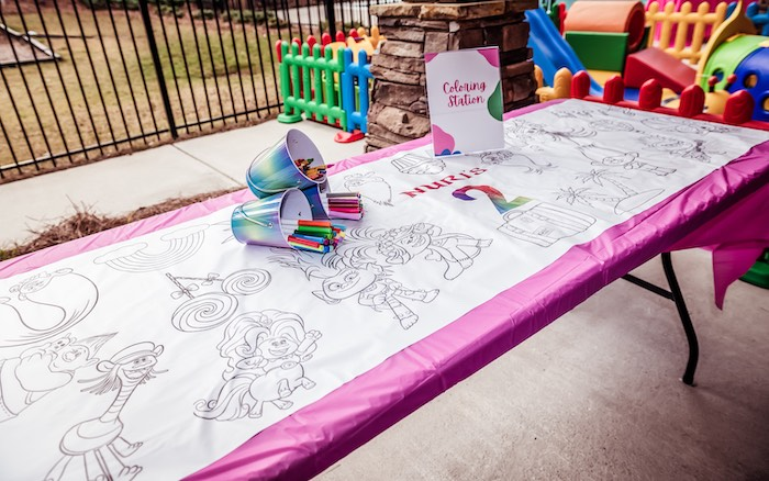 Trolls Coloring Station from a Trolls World Tour Tropical Birthday Party on Kara's Party Ideas | KarasPartyIdeas.com (14)