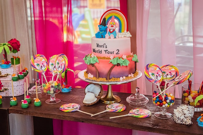Tropical Trolls Dessert Table from a Trolls World Tour Tropical Birthday Party on Kara's Party Ideas | KarasPartyIdeas.com (9)