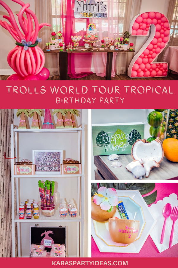 Trolls World Tour Tropical Birthday Party via Kara's Party Ideas - KarasPartyIdeas.com