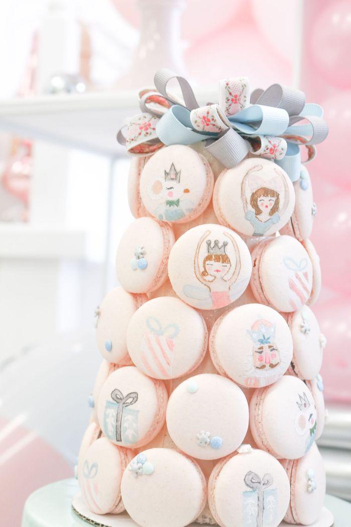 Nutcracker Ballet Macaron Tower from a Whimsical Pastel Nutcracker Party on Kara's Party Ideas   KarasPartyIdeas.com (15)