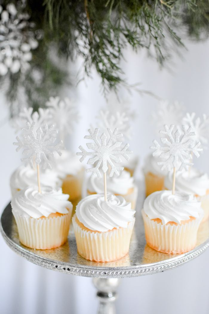 Winter ONEderland Cupcakes with Snowflake Toppers from a Winter ONEderland 1st Birthday Party on Kara's Party Ideas | KarasPartyIdeas.com (70)