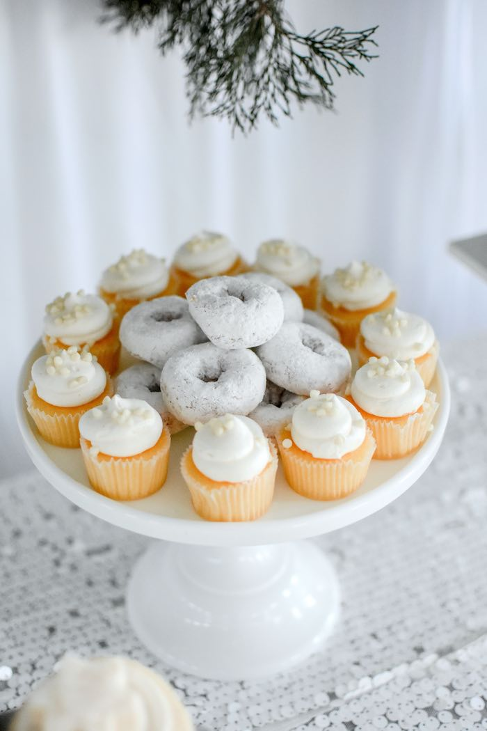 White Cupcakes + Donuts from a Winter ONEderland 1st Birthday Party on Kara's Party Ideas | KarasPartyIdeas.com (63)
