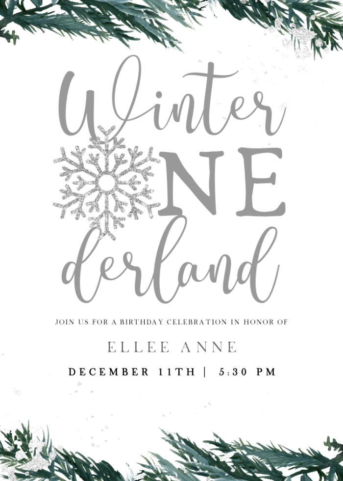 Winter ONEderland Party Invite from a Winter ONEderland 1st Birthday Party on Kara's Party Ideas | KarasPartyIdeas.com (81)