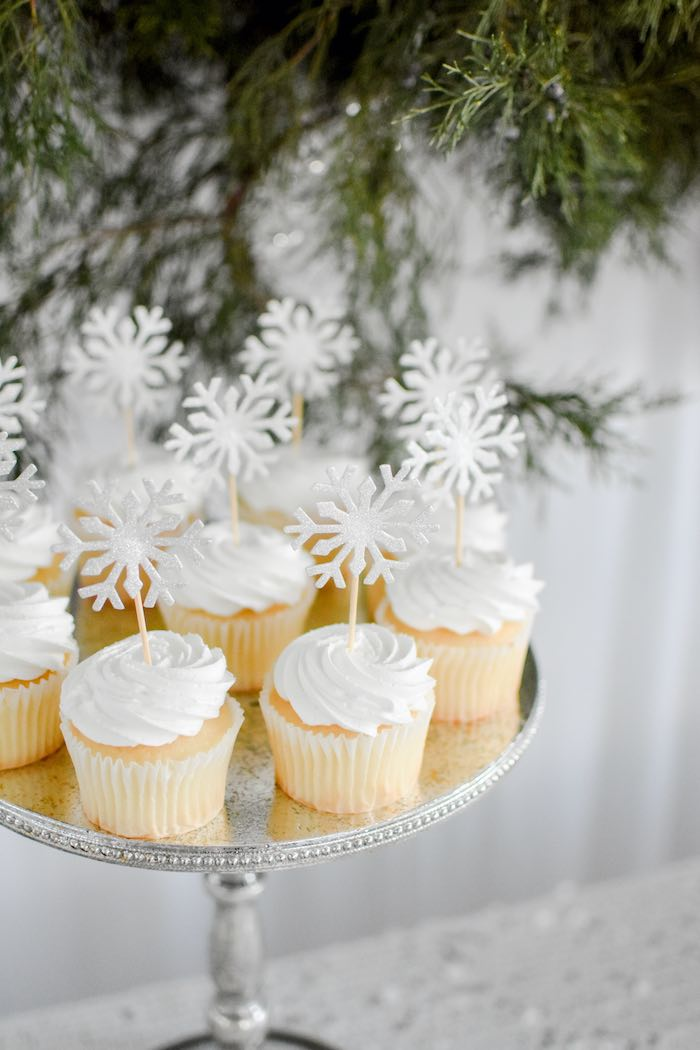 Winter ONEderland Cupcakes with Snowflake Toppers from a Winter ONEderland 1st Birthday Party on Kara's Party Ideas | KarasPartyIdeas.com (62)