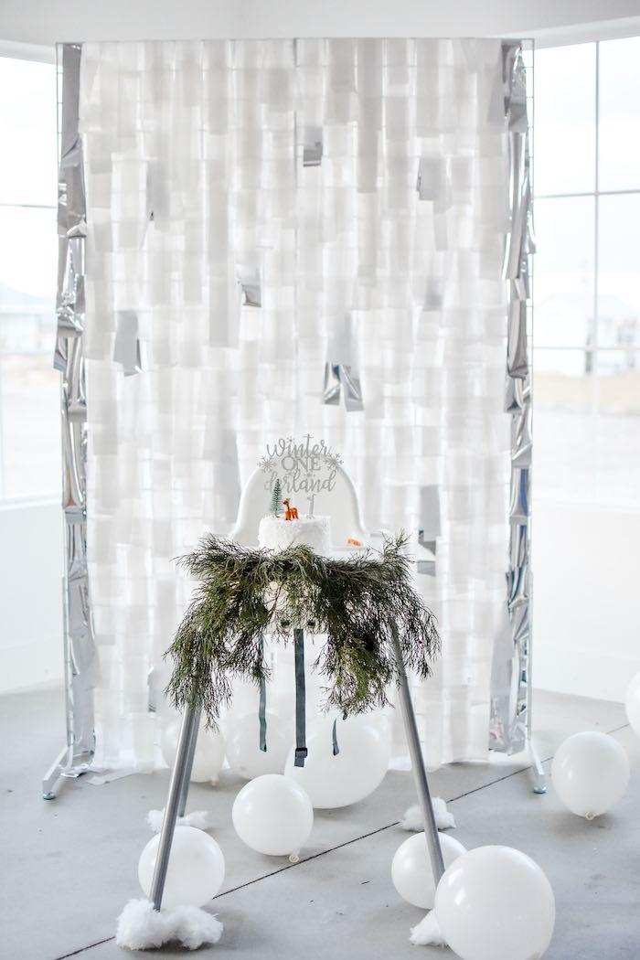 Winter Wonderland-inspired Tassel Backdrop + Highchair from a Winter ONEderland 1st Birthday Party on Kara's Party Ideas | KarasPartyIdeas.com (55)