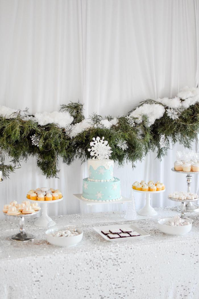 Winter Wonderland Dessert Table from a Winter ONEderland 1st Birthday Party on Kara's Party Ideas | KarasPartyIdeas.com (52)