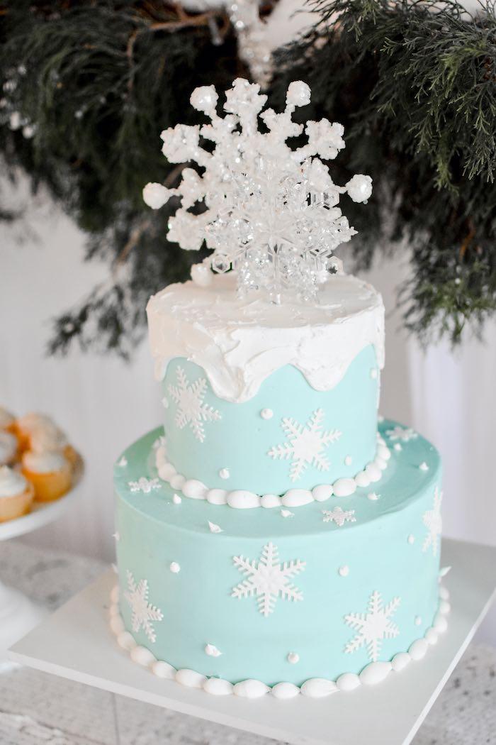 Winter Wonderland Snowflake Cake from a Winter ONEderland 1st Birthday Party on Kara's Party Ideas | KarasPartyIdeas.com (51)