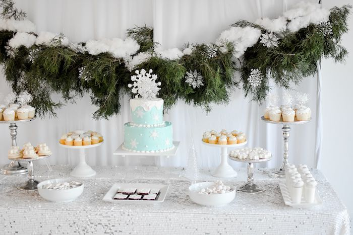 Winter ONEderland Dessert Table from a Winter ONEderland 1st Birthday Party on Kara's Party Ideas | KarasPartyIdeas.com (49)
