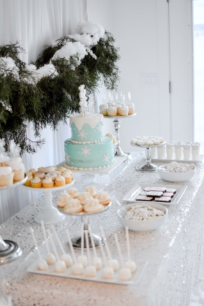 Winter ONEderland Dessert Table from a Winter ONEderland 1st Birthday Party on Kara's Party Ideas | KarasPartyIdeas.com (48)