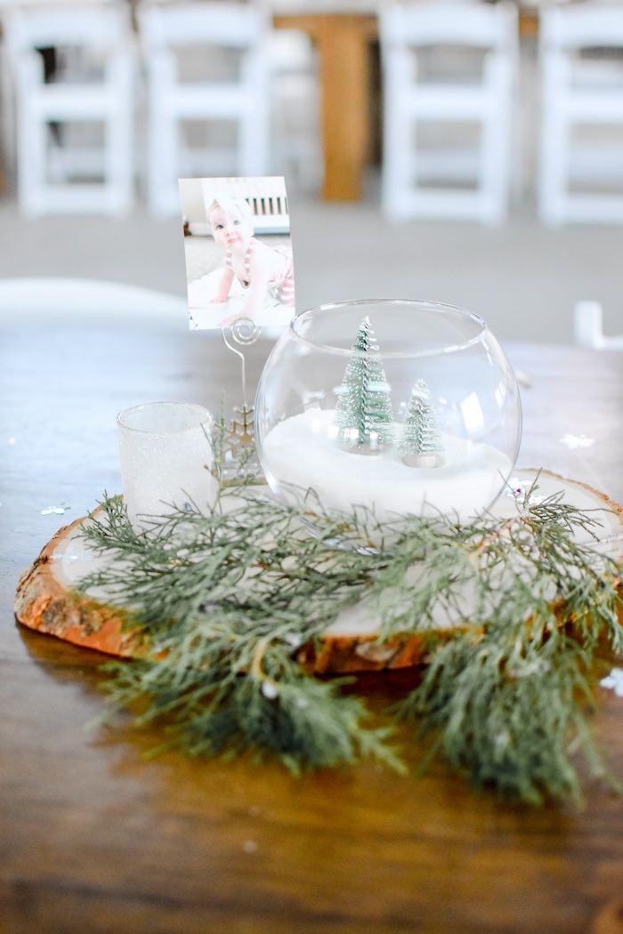 Winter Wonderland Snow Globe-inspired + Cedar Sprig Table Centerpiece from a Winter ONEderland 1st Birthday Party on Kara's Party Ideas | KarasPartyIdeas.com (47)