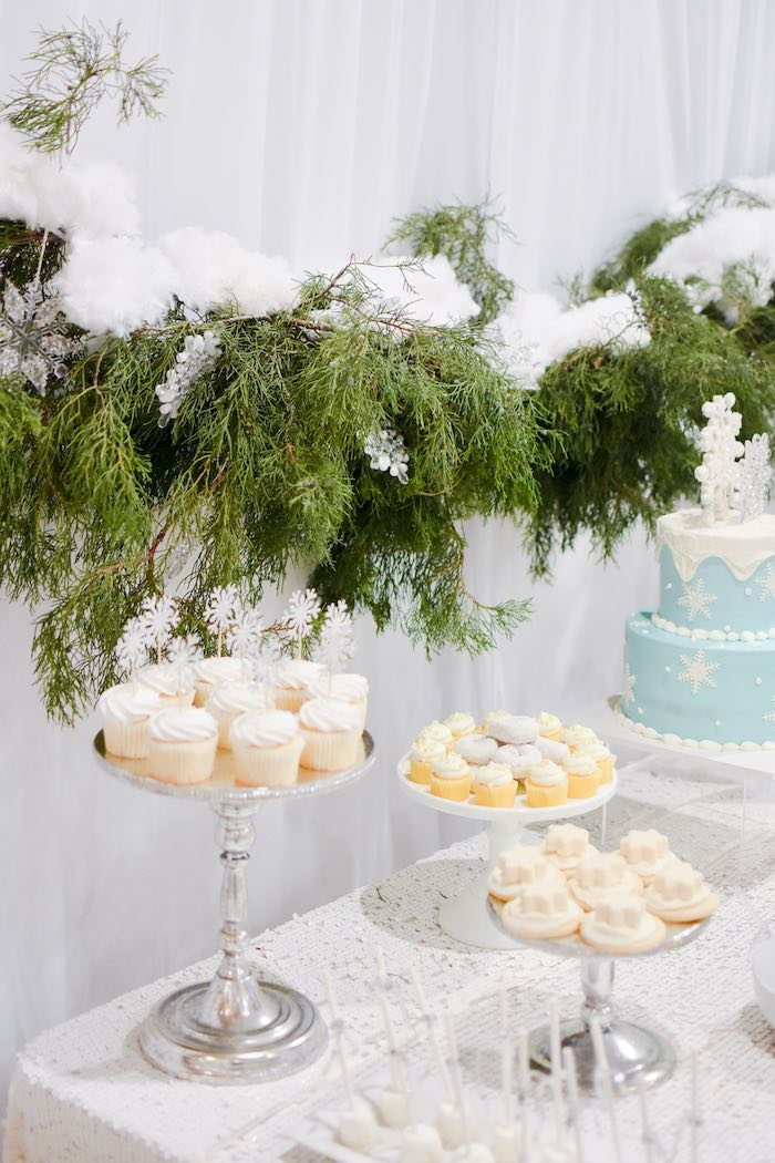 Winter Themed Sweet Table from a Winter ONEderland 1st Birthday Party on Kara's Party Ideas | KarasPartyIdeas.com (36)