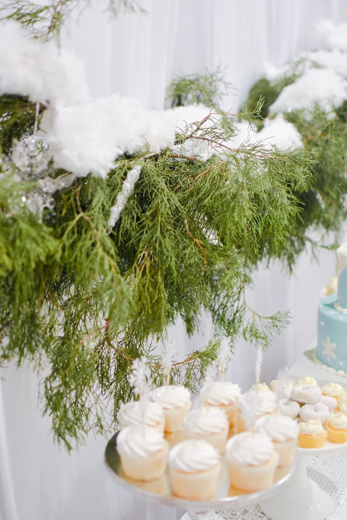 Snow-covered Cedar Garland from a Winter ONEderland 1st Birthday Party on Kara's Party Ideas | KarasPartyIdeas.com (35)