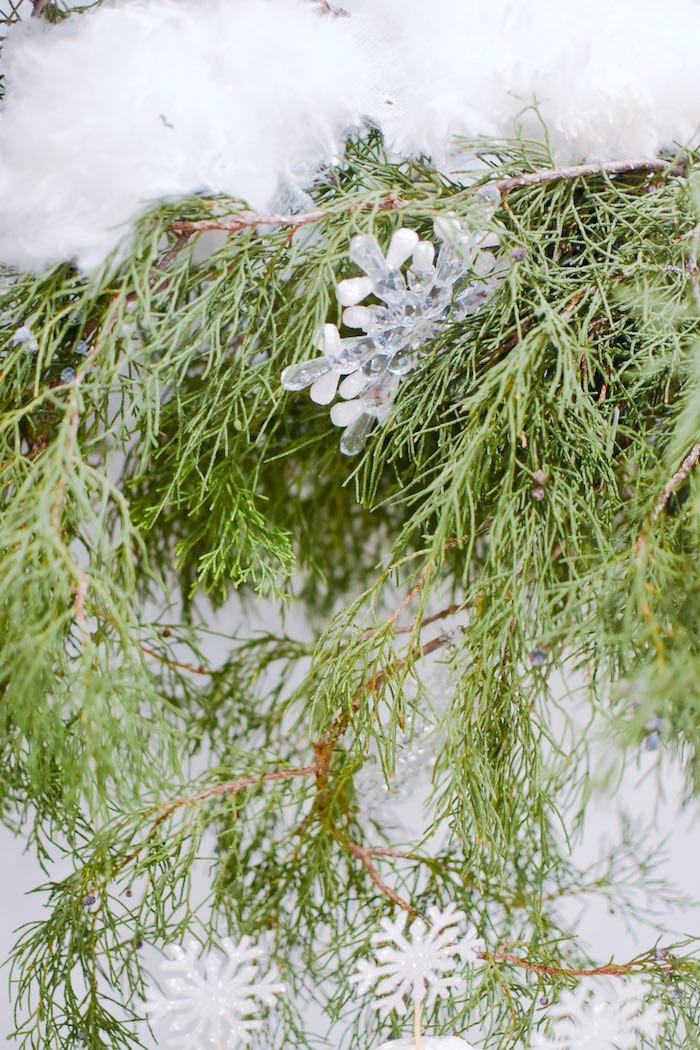 Snowflake-adorned Cedar Garland from a Winter ONEderland 1st Birthday Party on Kara's Party Ideas | KarasPartyIdeas.com (34)