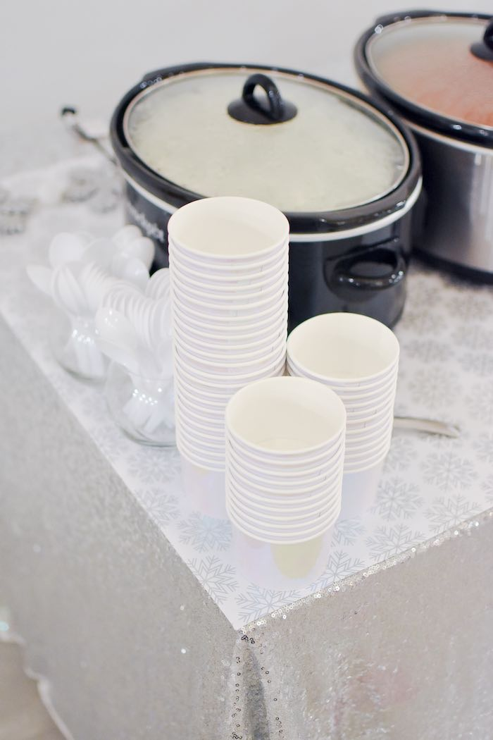 Iridescent Soup Cups from a Winter ONEderland 1st Birthday Party on Kara's Party Ideas | KarasPartyIdeas.com (24)