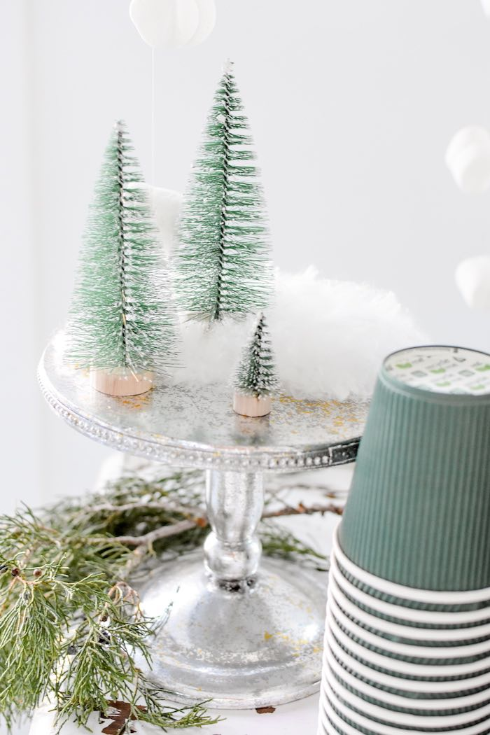 Bottle Brush Trees + Faux Snow on a Silver Dessert Pedestal from a Winter ONEderland 1st Birthday Party on Kara's Party Ideas | KarasPartyIdeas.com (75)