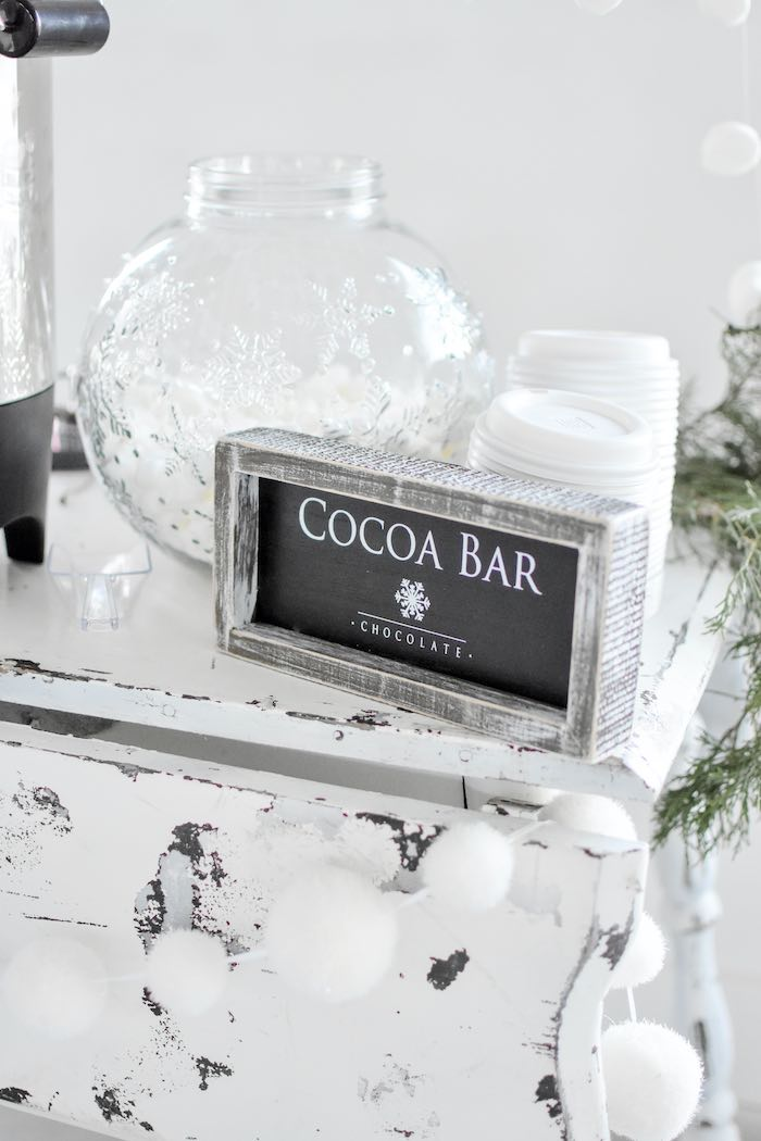 Winter Wonderland Cocoa Bar from a Winter ONEderland 1st Birthday Party on Kara's Party Ideas | KarasPartyIdeas.com (74)